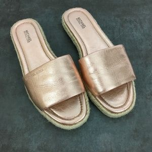 Michael Kors Rose Gold Espadrille Slide Size 8.5